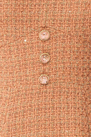 Stephim Salmon & Gold Tweed A-Line Midi Dress | Boutique 1861 fabric detail