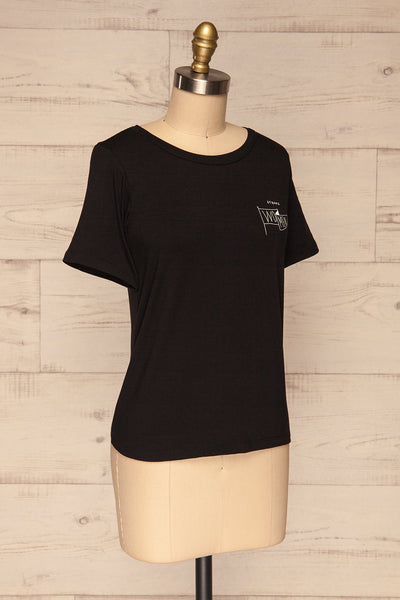 Strong Women Black T-Shirt | Haut | La Petite Garçonne side view