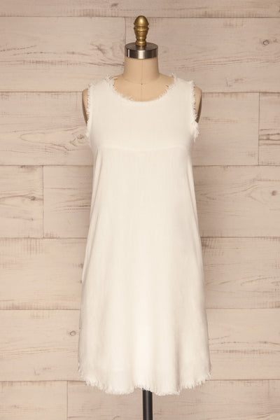 Sucua Ivory White Straight Short Dress | La petite garçonne fabric
