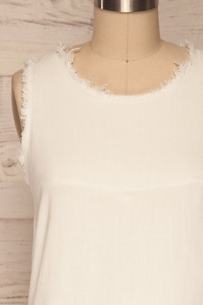 Sucua Ivory White Straight Short Dress | La petite garçonne front close up