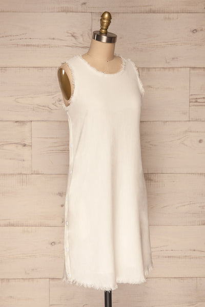Sucua Ivory White Straight Short Dress | La petite garçonne side view