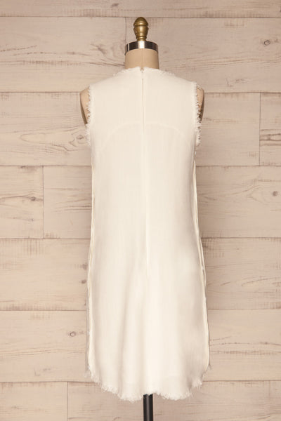 Sucua Ivory White Straight Short Dress | La petite garçonne back view