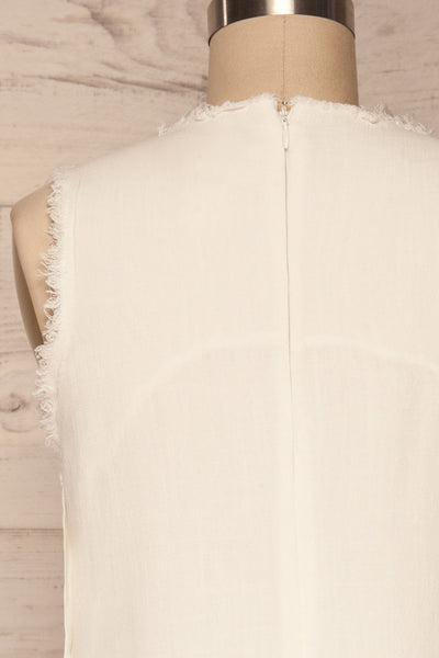 Sucua Ivory White Straight Short Dress | La petite garçonne back close up