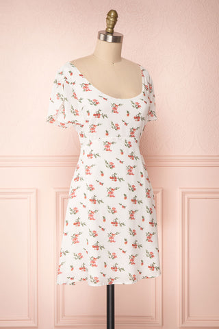 Sunniva White & Pink Floral Short A-Line Dress | Boutique 1861