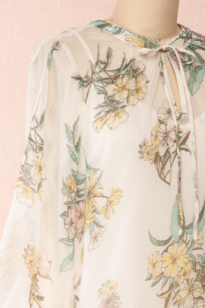 Sussen Cream White Floral A-Line Short Dress | Boutique 1861 side close-up