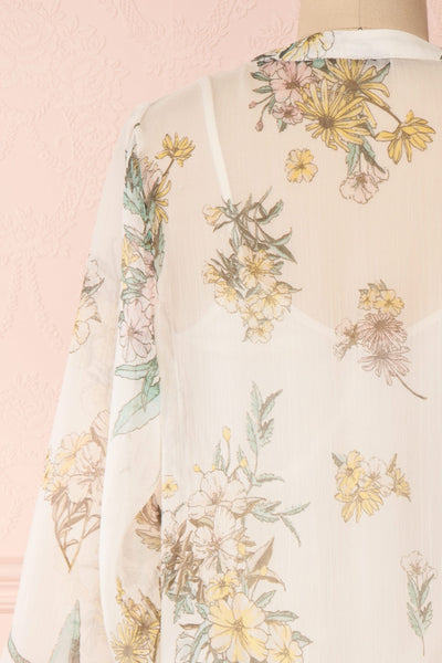 Sussen Cream White Floral A-Line Short Dress | Boutique 1861 back close-up