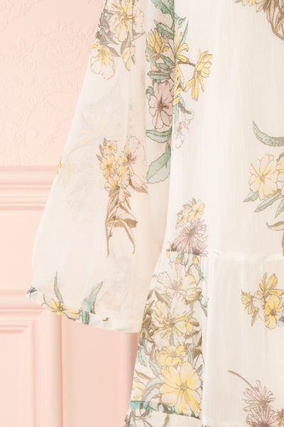Sussen Cream White Floral A-Line Short Dress | Boutique 1861 sleeve