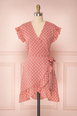 Suzanie Pink Polka Dot Ruffled A-Line Dress | Boutique 1861