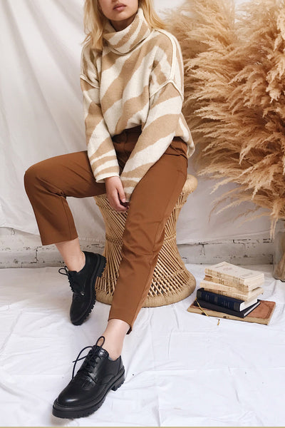 Athena Camel Zebra Print Turtleneck Sweater | La petite garçonne on model