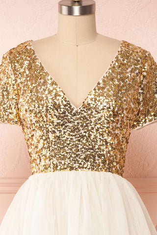 Sydalie Or Gold Sequin & Tulle A-Line Party Dress front close up | Boutique 1861