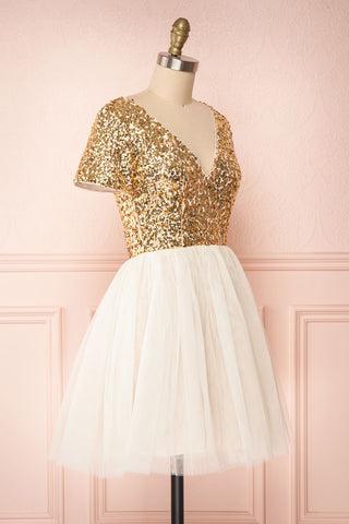 Sydalie Or Gold Sequin & Tulle A-Line Party Dress side view | Boutique 1861