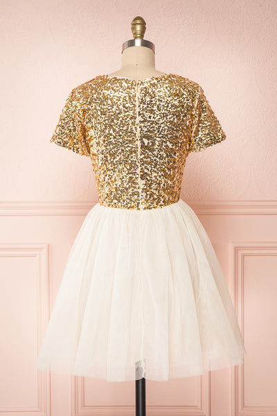 Sydalie Or Gold Sequin & Tulle A-Line Party Dress back view | Boutique 1861