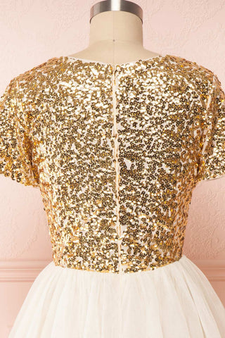 Sydalie Or Gold Sequin & Tulle A-Line Party Dress back close up | Boutique 1861