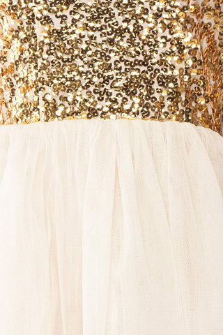 Sydalie Or Gold Sequin & Tulle A-Line Party Dress detail close up | Boutique 1861