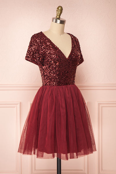 Sydalie Rouge Burgundy Sequin A-Line Party Dress side view | Boutique 1861