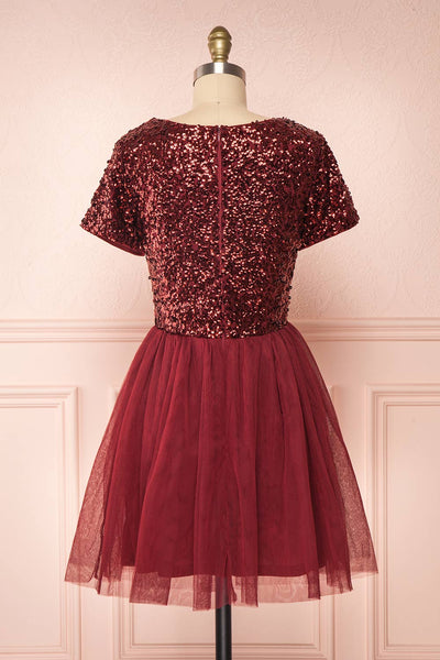 Sydalie Rouge Burgundy Sequin A-Line Party Dress back view | Boutique 1861