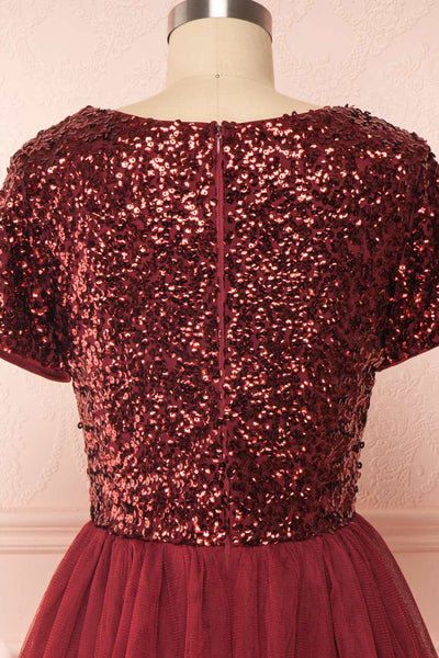 Sydalie Rouge | Burgundy Sequin Dress