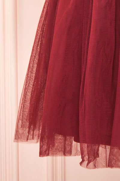 Sydalie Rouge Burgundy Sequin A-Line Party Dress skirt view | Boutique 1861