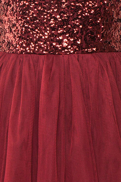 Sydalie Rouge Burgundy Sequin A-Line Party Dress texture detail | Boutique 1861