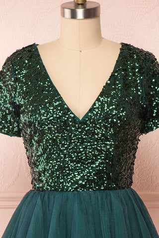 Sydalie Vert Green Sequin A-Line Party Dress front close up | Boutique 1861