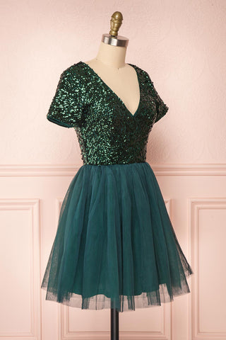 Sydalie Vert Green Sequin A-Line Party Dress side view | Boutique 1861