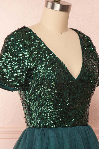 Sydalie Vert Green Sequin A-Line Party Dress side close up | Boutique 1861