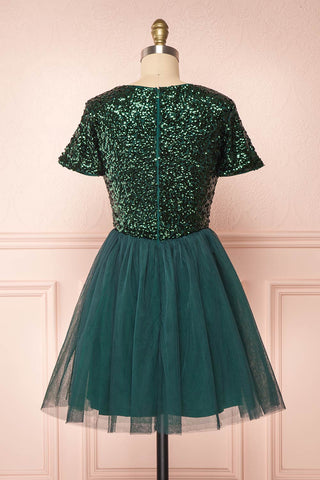 Sydalie Vert Green Sequin A-Line Party Dress back view | Boutique 1861