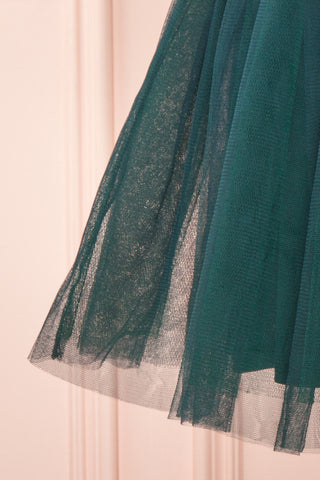 Sydalie Vert Green Sequin A-Line Party Dress skirt close up | Boutique 1861