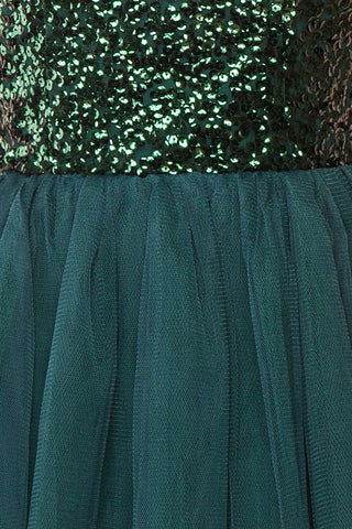 Sydalie Vert Green Sequin A-Line Party Dress texture close up | Boutique 1861