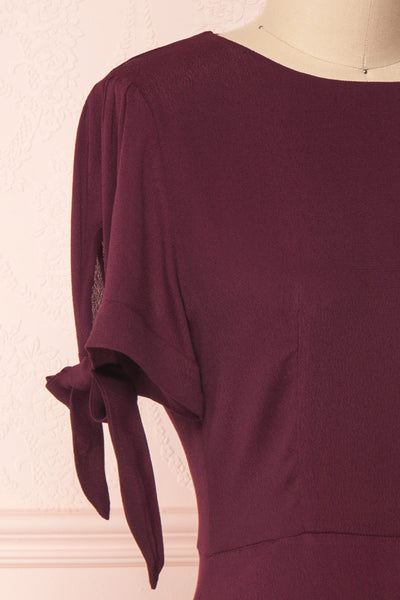 Synda Grenat Burgundy Flared Dress with Puff Sleeves | Boutique 1861