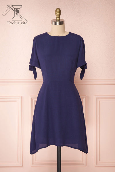 Synda Lapis Navy Blue Flared Dress with Puff Sleeves | Boutique 1861
