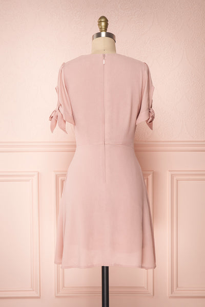 Synda Quartz Pink Flared Dress with Puff Sleeves | Boutique 1861