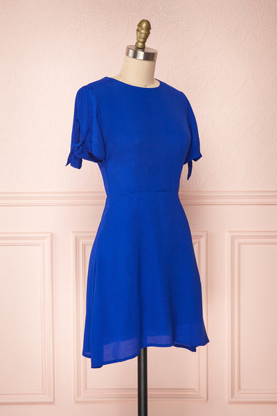 Synda Sapphire Blue Flared Dress with Puff Sleeves | Boutique 1861