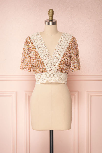 Synnove Ochre Floral Crop Top with Crocheted Lace | FRONT VIEW | Boutique 1861