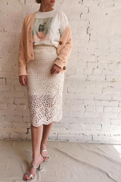 Aubane Cream Lace Midi Skirt w/ Back Slit | Boutique 1861 model look