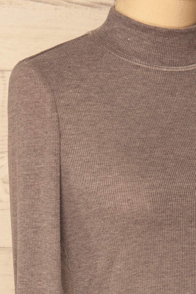 Tachov Grey Ribbed Knit Stand Collar Top | La Petite Garçonne