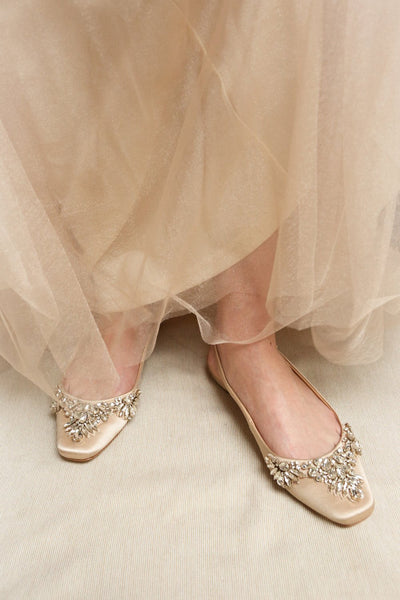 Taclet Tan Low Heel Slingback Shoes with Crystals | Boudoir 1861 on model