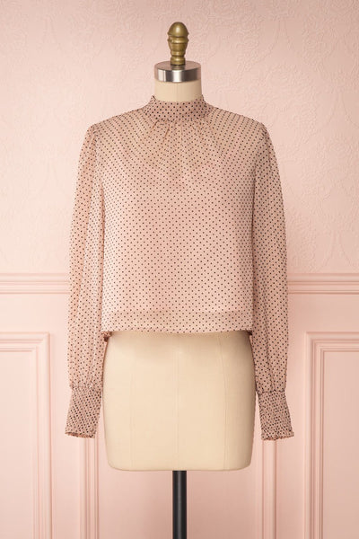 Tajimi Pink Polkadot Long Sleeved Blouse front view | Boutique 1861