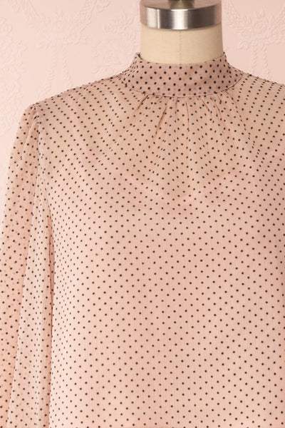 Tajimi Pink Polkadot Long Sleeved Blouse front close up | Boutique 1861