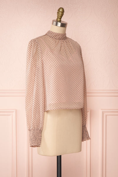 Tajimi Pink Polkadot Long Sleeved Blouse side view | Boutique 1861