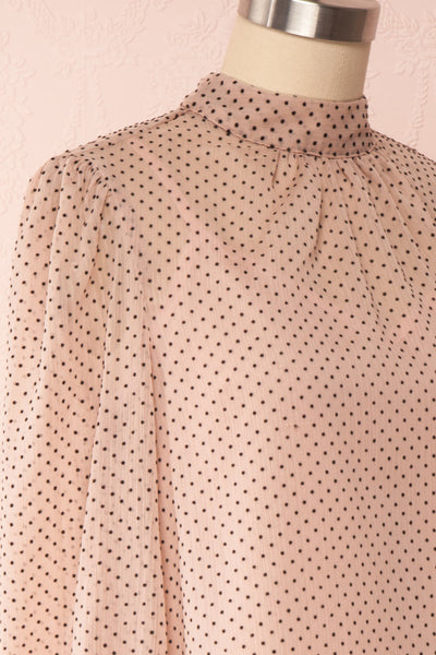 Tajimi Pink Polkadot Long Sleeved Blouse side close up | Boutique 1861