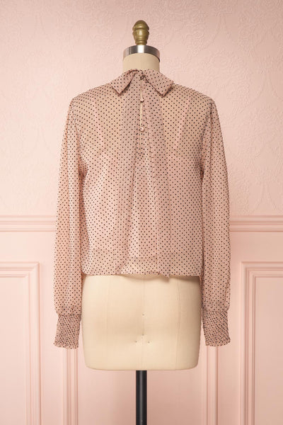 Tajimi Pink Polkadot Long Sleeved Blouse back view | Boutique 1861