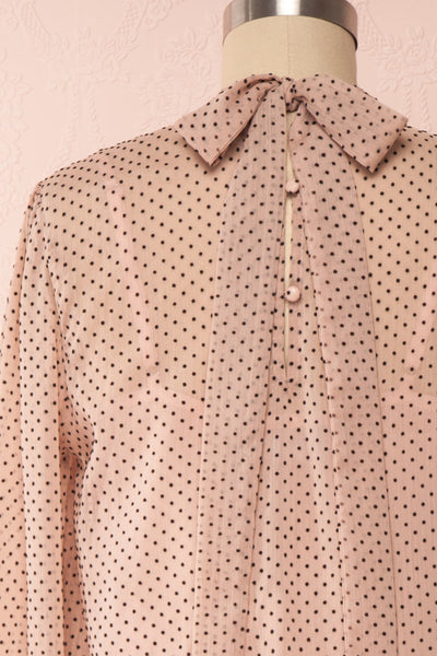 Tajimi Pink Polkadot Long Sleeved Blouse back close up | Boutique 1861
