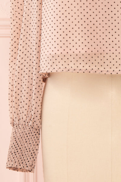 Tajimi Pink Polkadot Long Sleeved Blouse sleeve | Boutique 1861