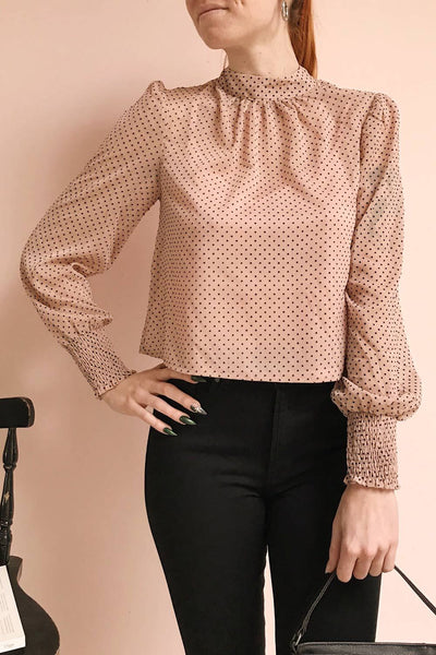 Tajimi Pink Polkadot Long Sleeved Blouse photo | Boutique 1861