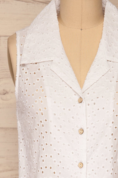 Takasaki White Openwork Sleeveless Blouse | La petite garçonne  front close-up