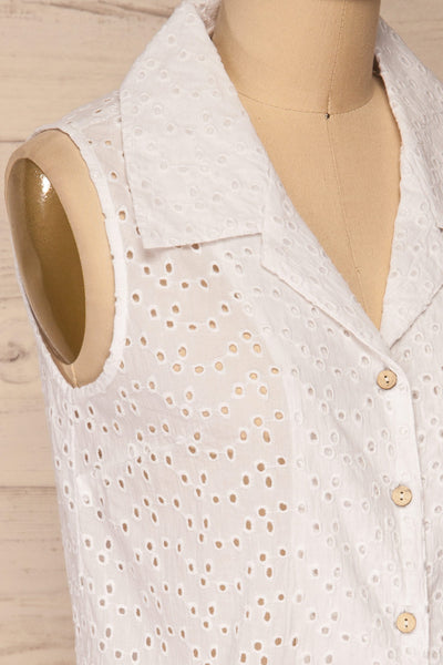 Takasaki White Openwork Sleeveless Blouse | La petite garçonne  side close-up