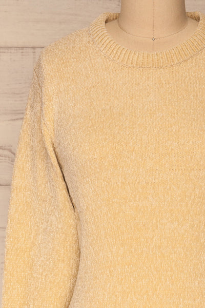 Talsi Beige Velvet Knit Sweater | La petite garçonne front close-up