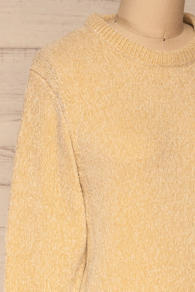 Talsi Beige Velvet Knit Sweater | La petite garçonne side close-up