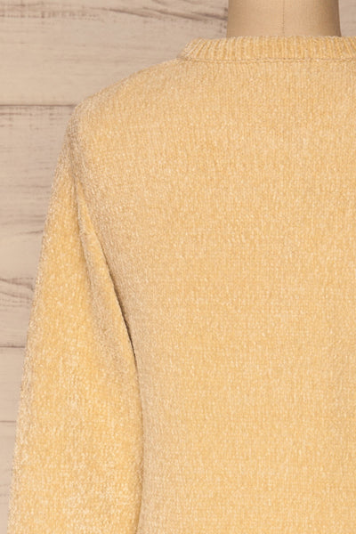 Talsi Beige Velvet Knit Sweater | La petite garçonne back close-up